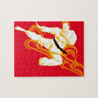Man practicing martial arts, performing mid air jigsaw puzzle