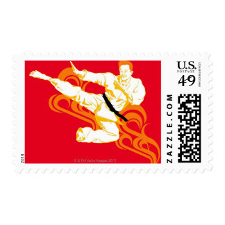 Man practicing martial arts, performing mid air postage stamps
