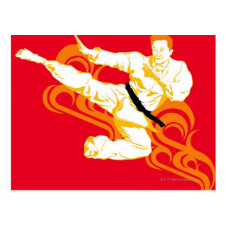 Man practicing martial arts performing mid air post card
