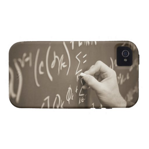 Man printing math equations on a chalkboard iPhone 4 cases