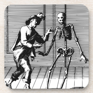 Man Proposing to a Skeleton Drink Coaster