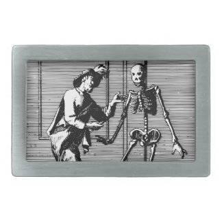 Man Proposing to a Skeleton Rectangular Belt Buckle