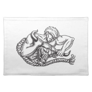 Man Pulling Bull By Horns Tattoo Cloth Placemat