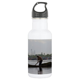 Man pushing a long pole inside Dal lake 18oz Water Bottle
