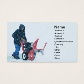 man pushing a snowblower business card