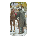 Man putting saddle on horse barely there iPhone 6 case