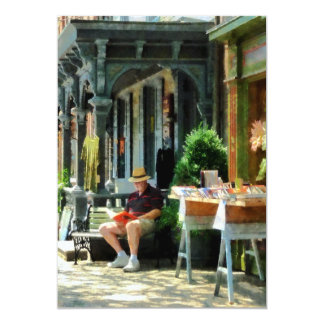 Man Reading by Book Stall Card