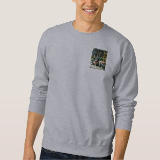 Man Reading by Book Stall Pull Over Sweatshirts