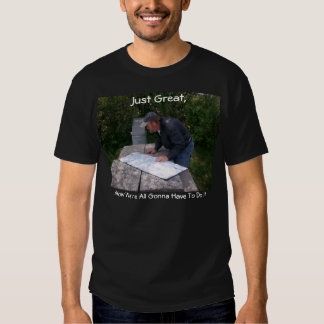 Man Reading Map With Bear Proof Trash Can 4 T-shirt