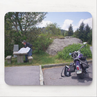 MAN READING MAP With Motorcycle Mouse Pad