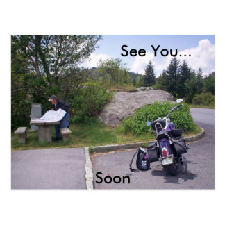 MAN READING MAP With Motorcycle Postcard