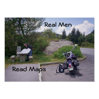 MAN READING MAP With Motorcycle Poster