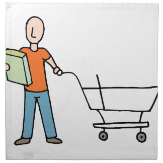 Man Reading Packaging Label Grocery Cart Napkin