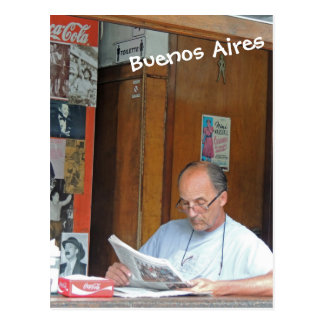 Man Reading Paper-Through the Window- Buenos Aires Postcard