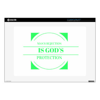 Man rejection is Gods protection green Decal For Laptop