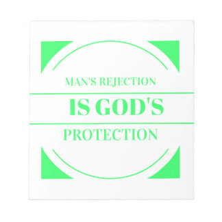 Man rejection is Gods protection green Notepad