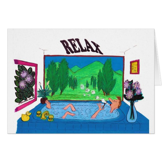 Man relaxing in a bathtub blowing bubbles card