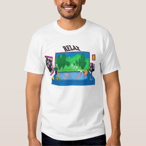 Man relaxing in a bathtub blowing bubbles shirts