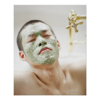Man Relaxing in a Bathtub with a Facial Mask Poster