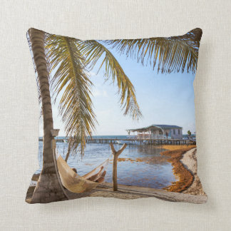 Man Relaxing In A Hammock Under Palm Tree, Belize Throw Pillow