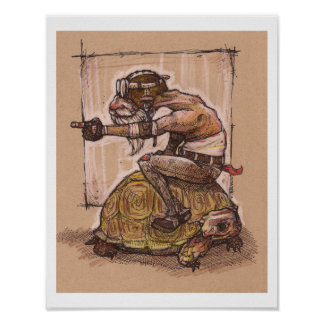 Man riding a turtle drawing poster