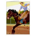 Man riding bucking bronco, side view card