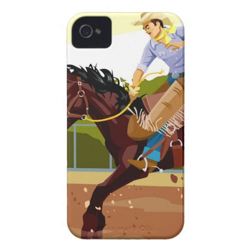 Man riding bucking bronco, side view iPhone 4 Case-Mate cases
