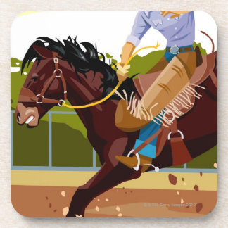 Man riding bucking bronco, side view drink coaster