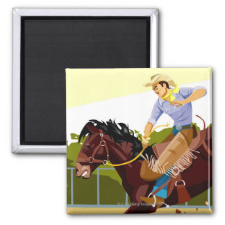 Man riding bucking bronco, side view magnet