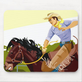 Man riding bucking bronco, side view mouse pad