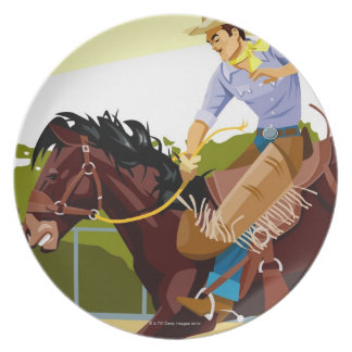 Man riding bucking bronco, side view plate