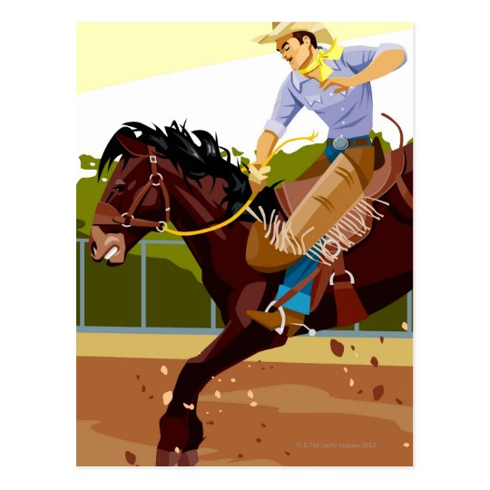 Man riding bucking bronco, side view postcard