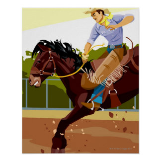 Man riding bucking bronco, side view poster