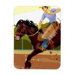 Man riding bucking bronco, side view rectangular magnet