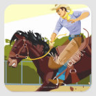 Man riding bucking bronco, side view square sticker