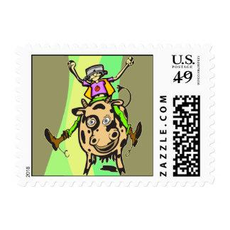 Man Riding Cow Stamp