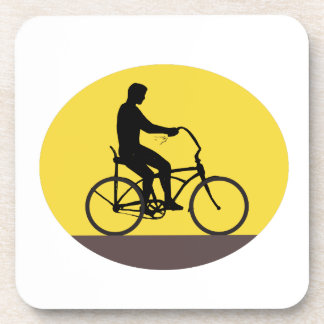 Man Riding Easy Rider Bicycle Silhouette Oval Retr Coaster