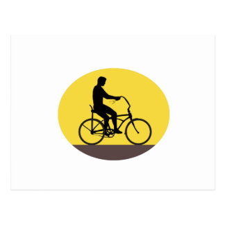 Man Riding Easy Rider Bicycle Silhouette Oval Retr Postcard