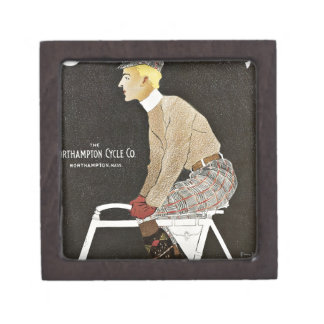 Man Riding Vintage Bicycle Jewelry Box