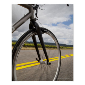 Man road biking at high speed POV Poster