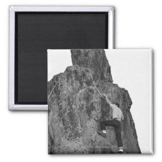 Man Rock Climbing 2 Inch Square Magnet