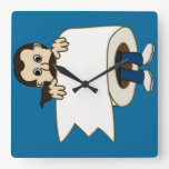man rolled in toilet paper clock