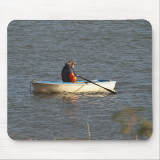 man rowing a boat in sunset mouse pad
