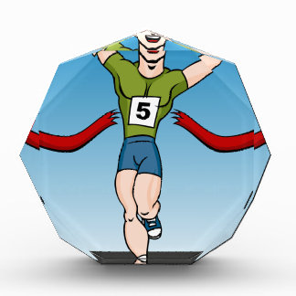 Man Runner Winning Race Cartoon Award