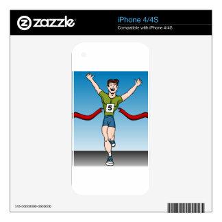 Man Runner Winning Race Cartoon iPhone 4S Decals