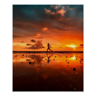 Man Running on Beach at Sunset Poster