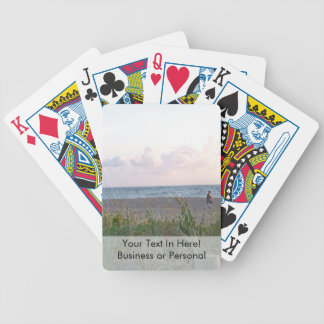 man running on beach painting style image bicycle playing cards