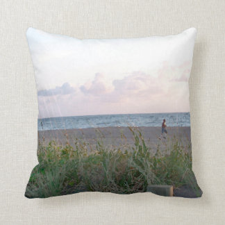 man running on beach painting style image pillows