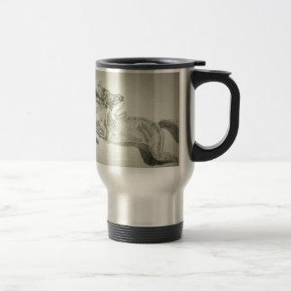man saddled on a horse travel mug