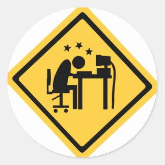 Man Sat at a Computer Classic Round Sticker